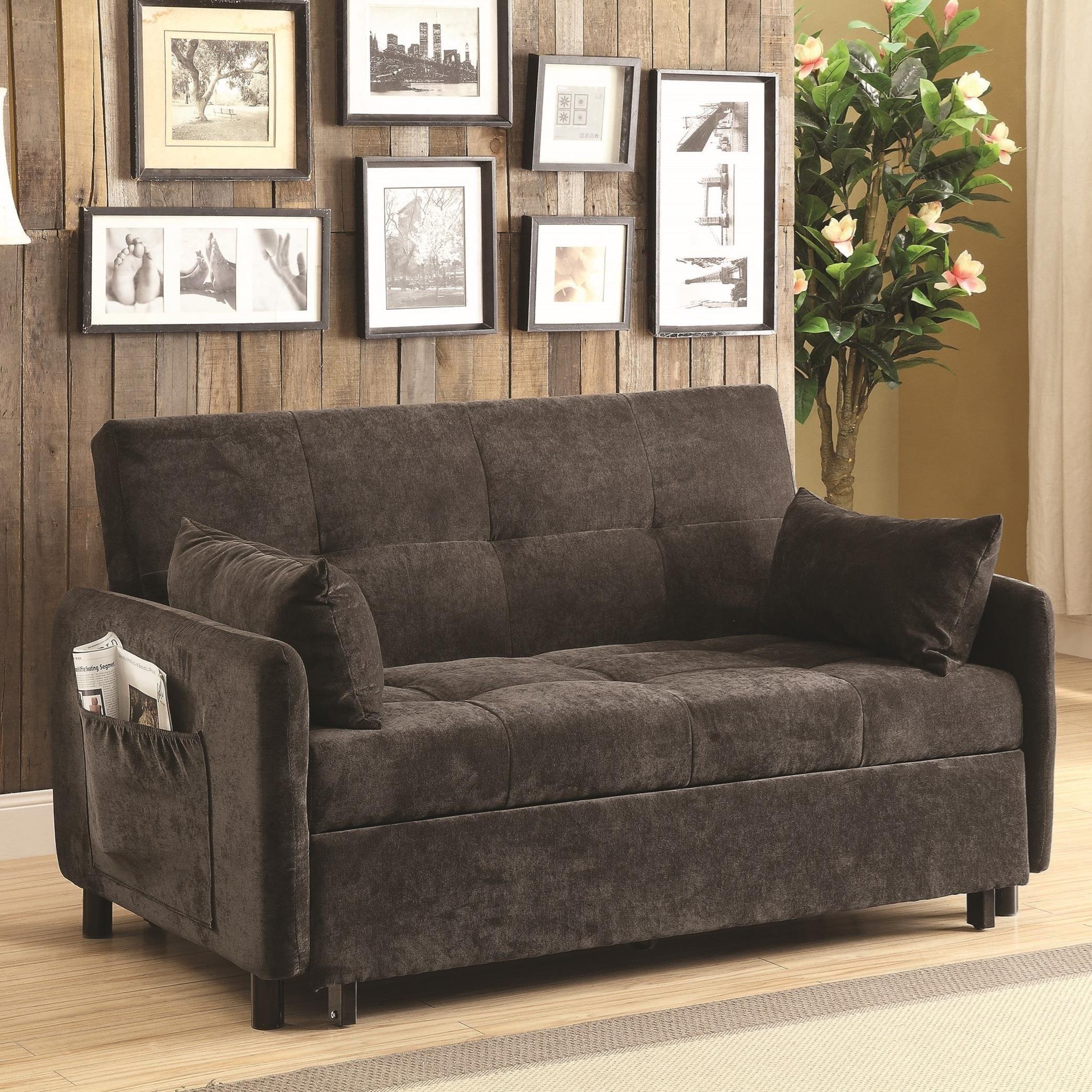 Coaster Futons 551075 Dark Brown Sofa Bed Dunk Bright Furniture Rh Dunkandbright Com