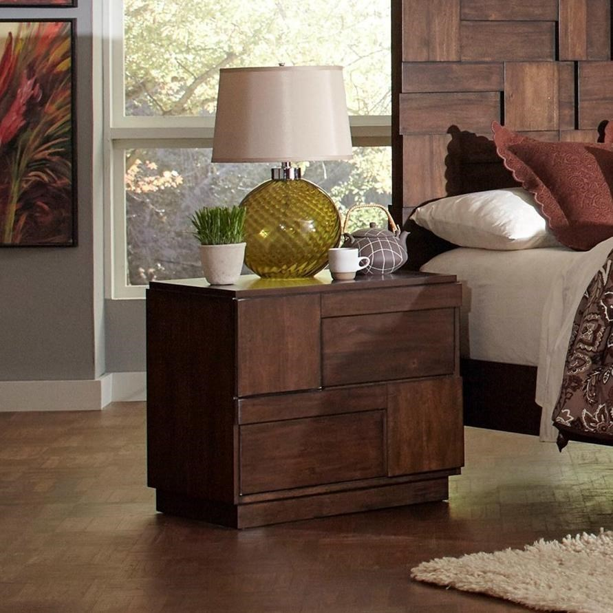 Coaster Gallagher Nightstand With Geometric Layered Wood Panels