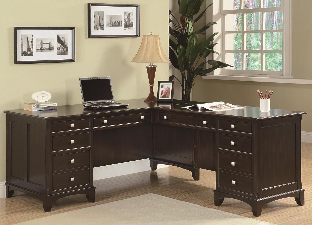 L-Shaped Desk with 8 Drawers