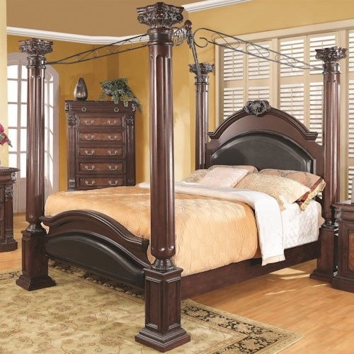 Coaster Grand Prado Queen Poster Bed w/ Upholstered Panels ...