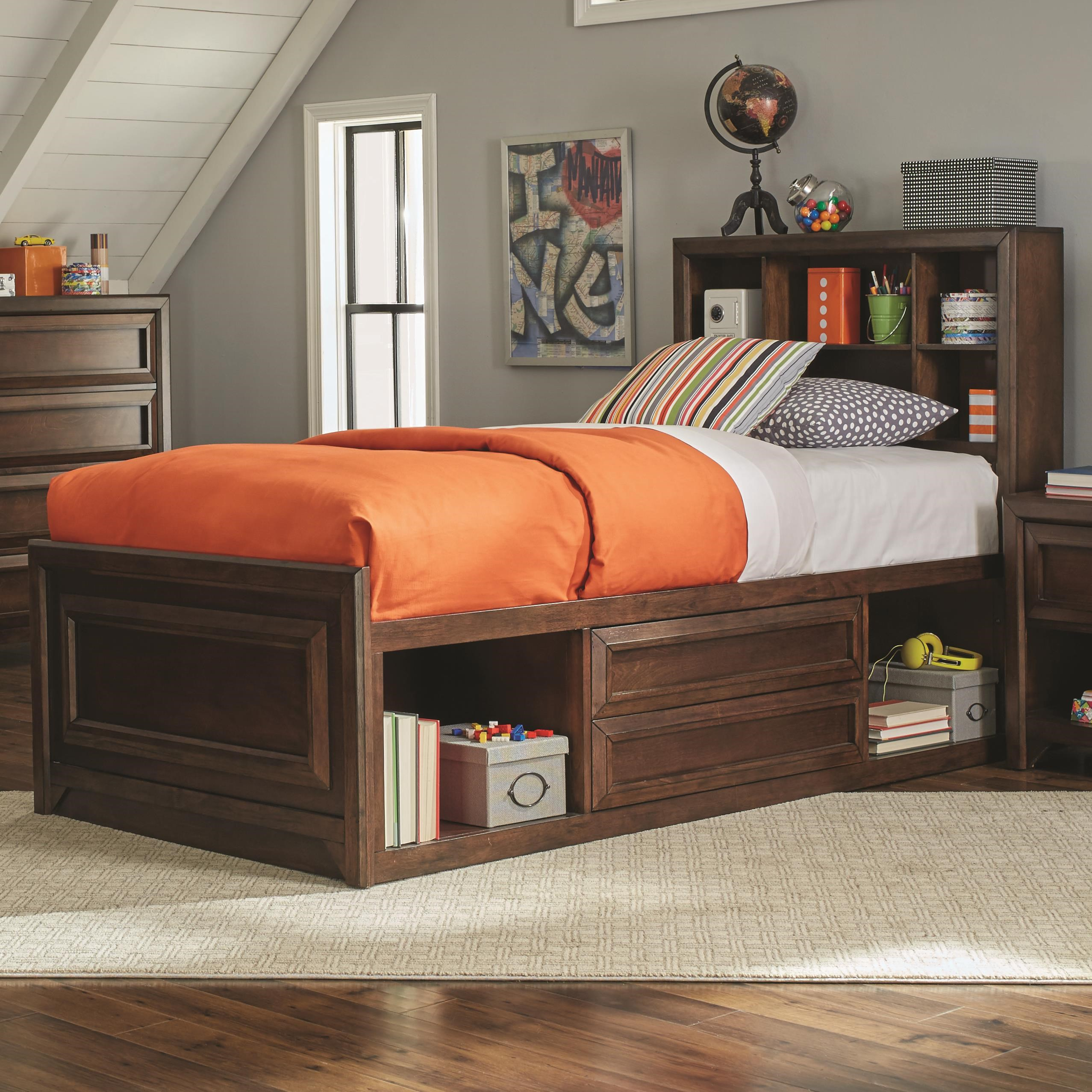 Coaster GreenoughTwin Bed; Coaster GreenoughTwin Bed  sc 1 st  Dunk u0026 Bright Furniture & Coaster Greenough 400820T Twin Bed with Bookcase Storage | Dunk ...