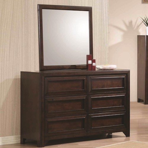 Coaster Greenough Dresser with Six Drawers and Mirror with Wood Frame