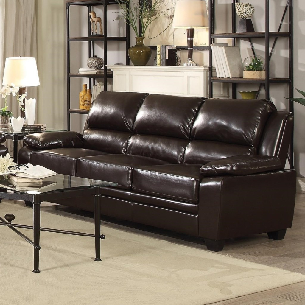 Coaster Gryffin Leatherette Sofa with Pillow Arms Dunk & Bright