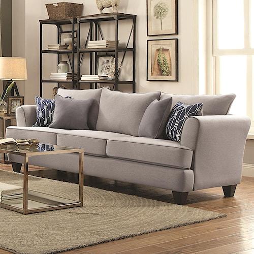 Coaster Hallstatt Casual Flared Arm Sofa With Four Toss Pillows