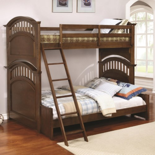 Casual Wooden Twin Over Full Bunk Bed With Walnut Finish Halsted