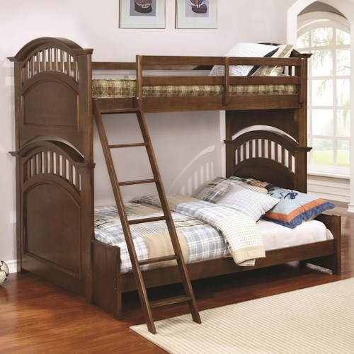 Coaster Halsted Casual Wooden Twin over Full Bunk Bed with Walnut Finish