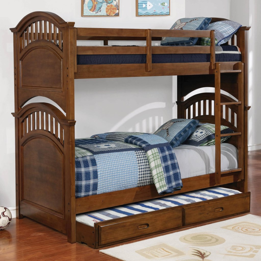Coaster Halsted 461084 Casual Wooden Twin Over Twin Bunk Bed With