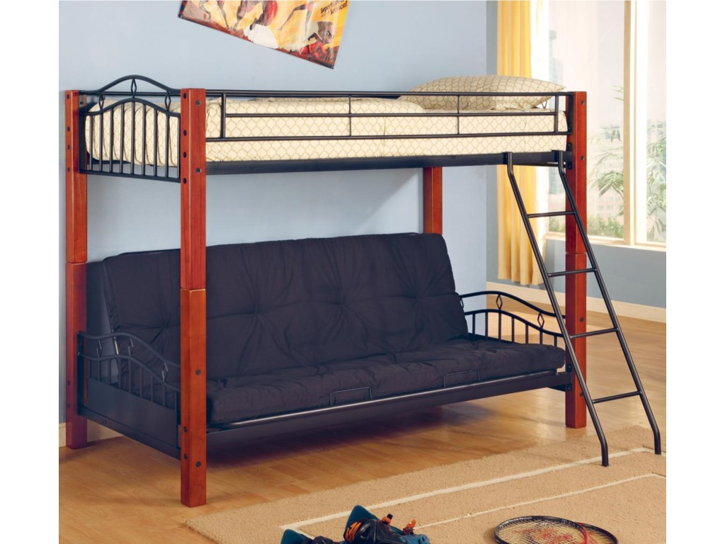 Haskell Metal And Wood Casual Twin Over Futon Bunk Bed By Coaster At Value City Furniture