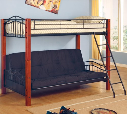 Coaster Haskell Metal and Wood Casual Twin over Futon Bunk Bed - Bunk Bed and Futon