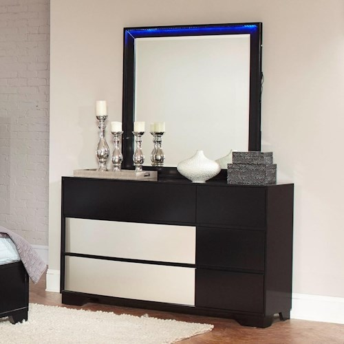 Coaster Havering Dresser with Dovetail Drawers and Mirror