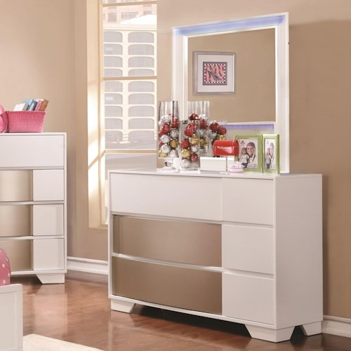 Coaster Havering Small Scale Dresser and Mirror Set with LED Backlight
