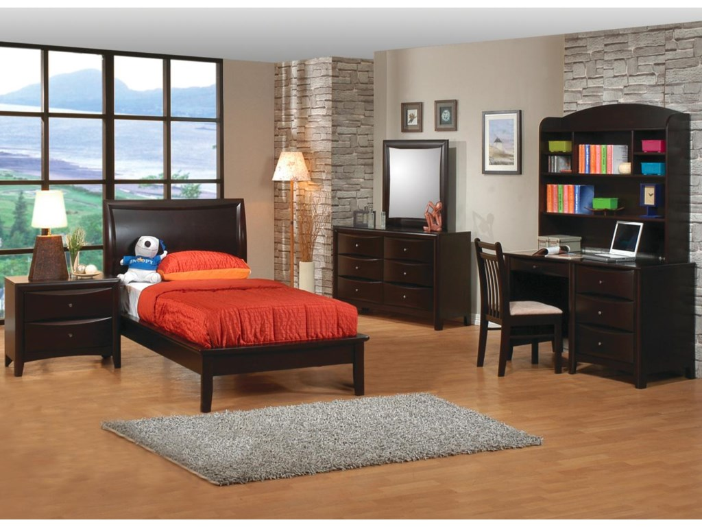 Shown in Room Setting with Platform Bed, Dresser, Mirror, Chair, and Desk with Hutch