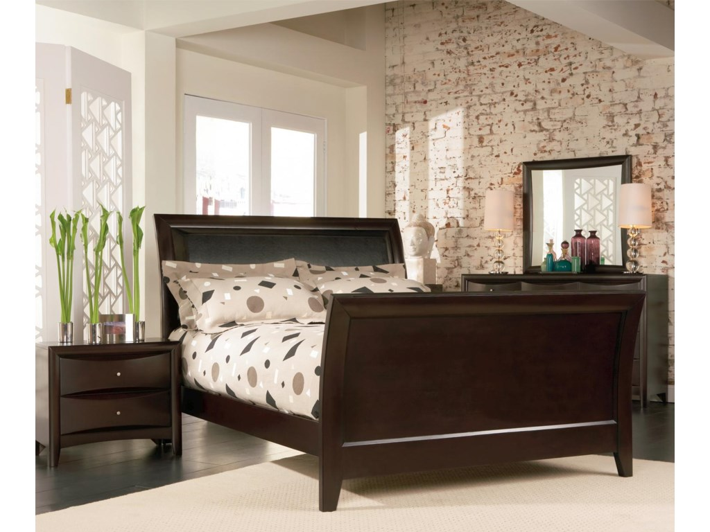 Shown in Room Setting with Nightstand, Sleigh Bed, and Mirror