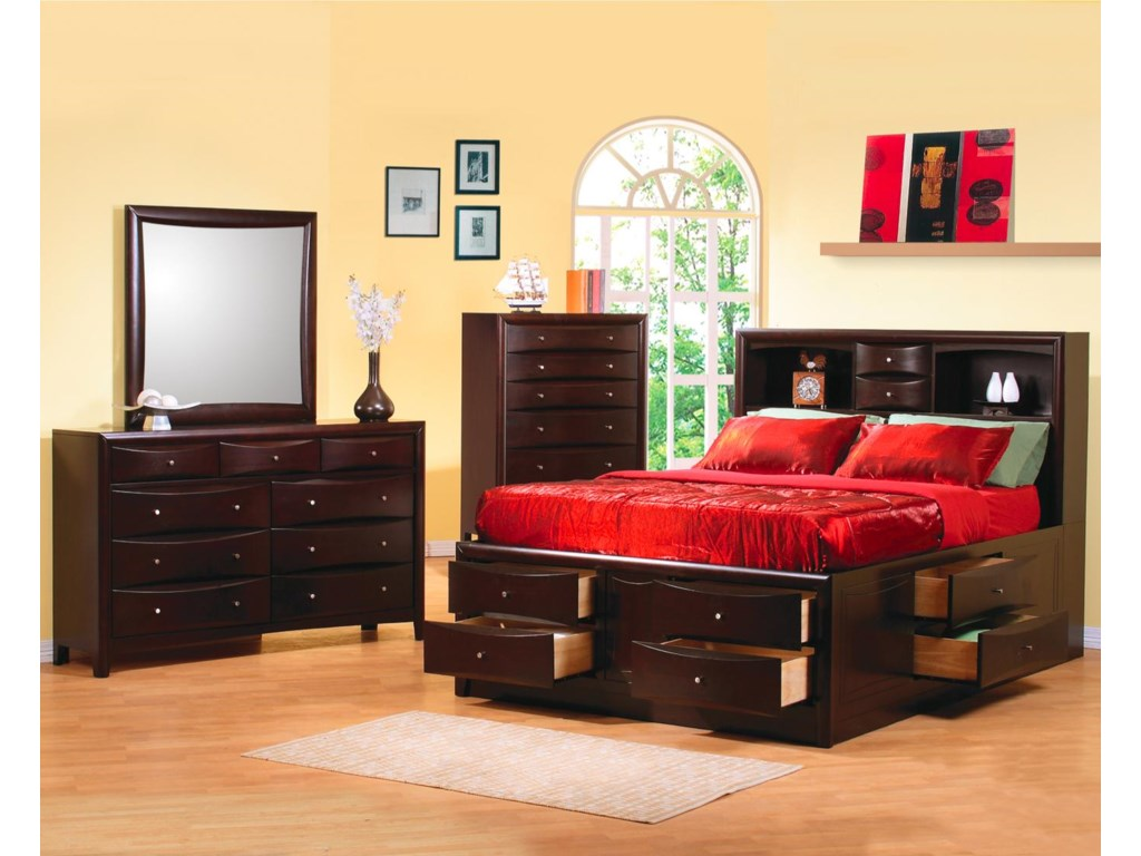 Shown in Room Setting with Dresser, Mirror, and Bookcase Bed