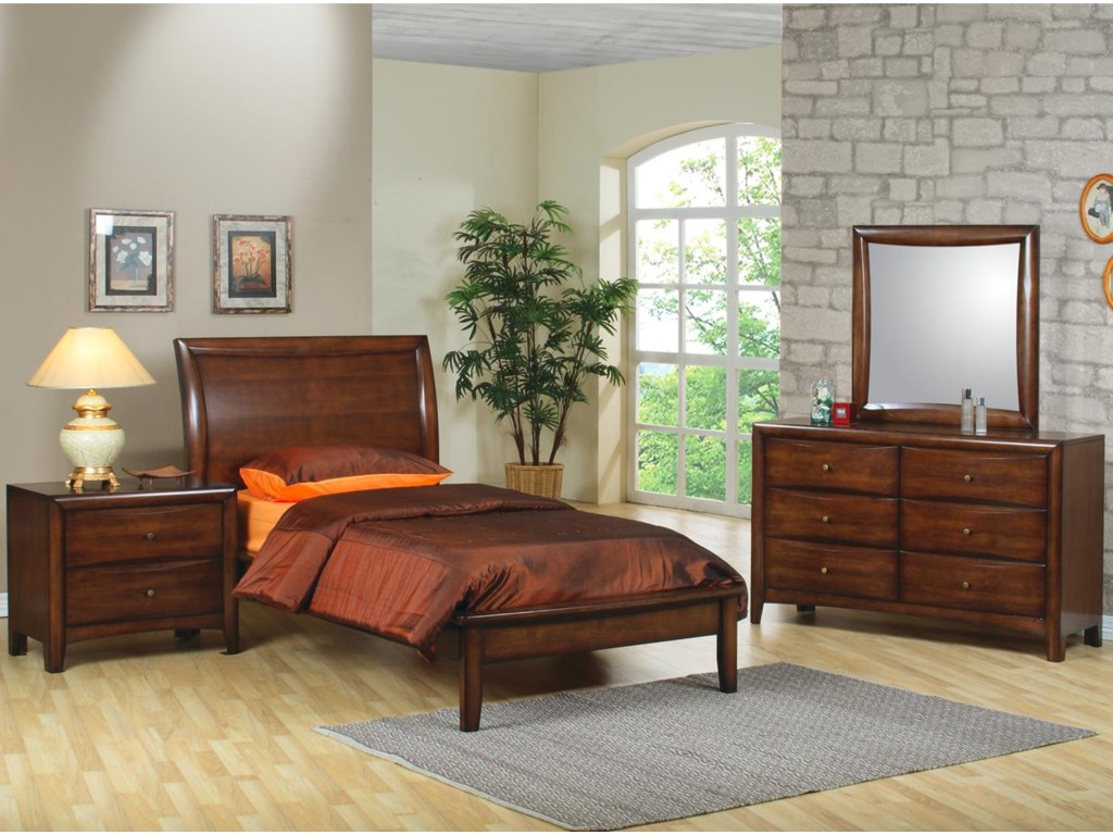 Shown in Room Setting with Platform Bed, Dresser, and Mirror