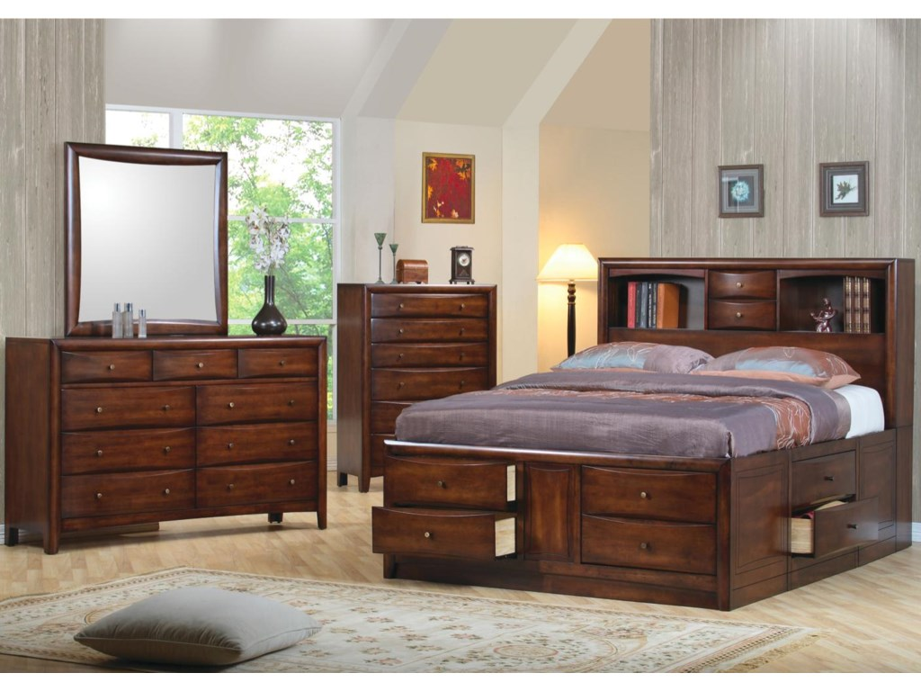 Shown in Room Setting with Mirror, Chest, and Bookcase Bed
