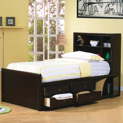 Coaster Phoenix Twin Bookcase Bed with Underbed Storage