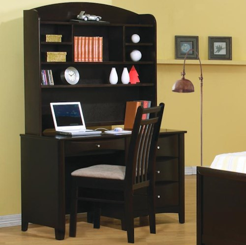 Coaster Phoenix Single Pedestal Youth Computer Desk with Hutch