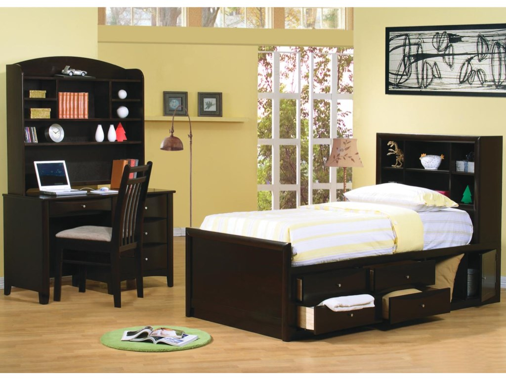 Shown in Room Setting with Desk with Hutch and Bookcase Bed