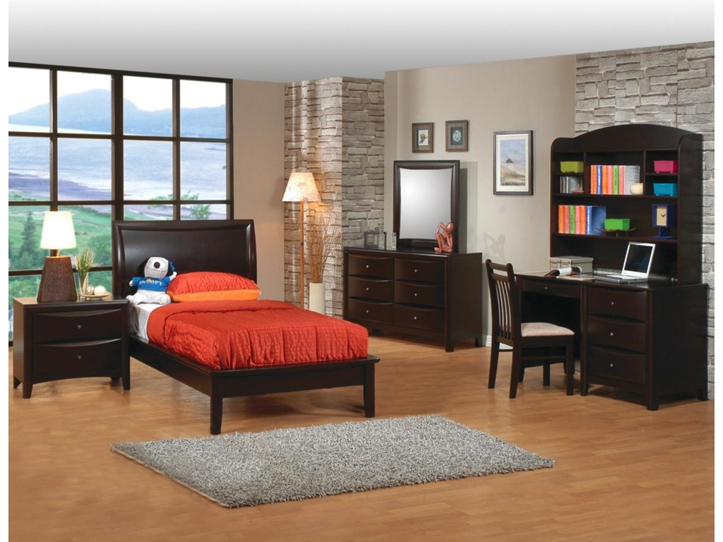 Shown in Room Setting with Nightstand, Platform Bed, Dresser, Mirror, and Desk with Hutch