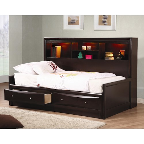 Coaster Phoenix Twin Daybed with Bookcase & Storage Drawers