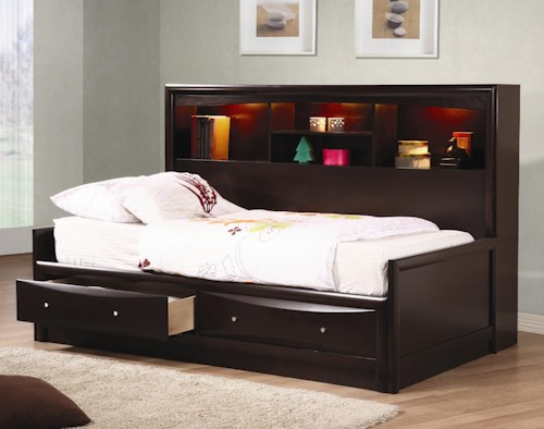 Coaster Phoenix Full Daybed with Bookcase & Storage Drawers