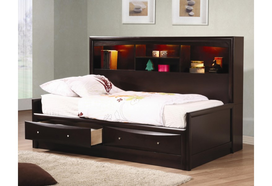 Coaster Phoenix Twin Daybed With Bookcase Storage Drawers