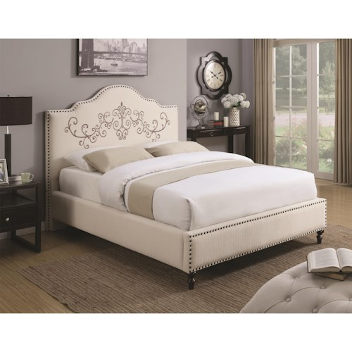 Coaster Homecrest Queen Bed Upholstered Bed with Nailhead Trim