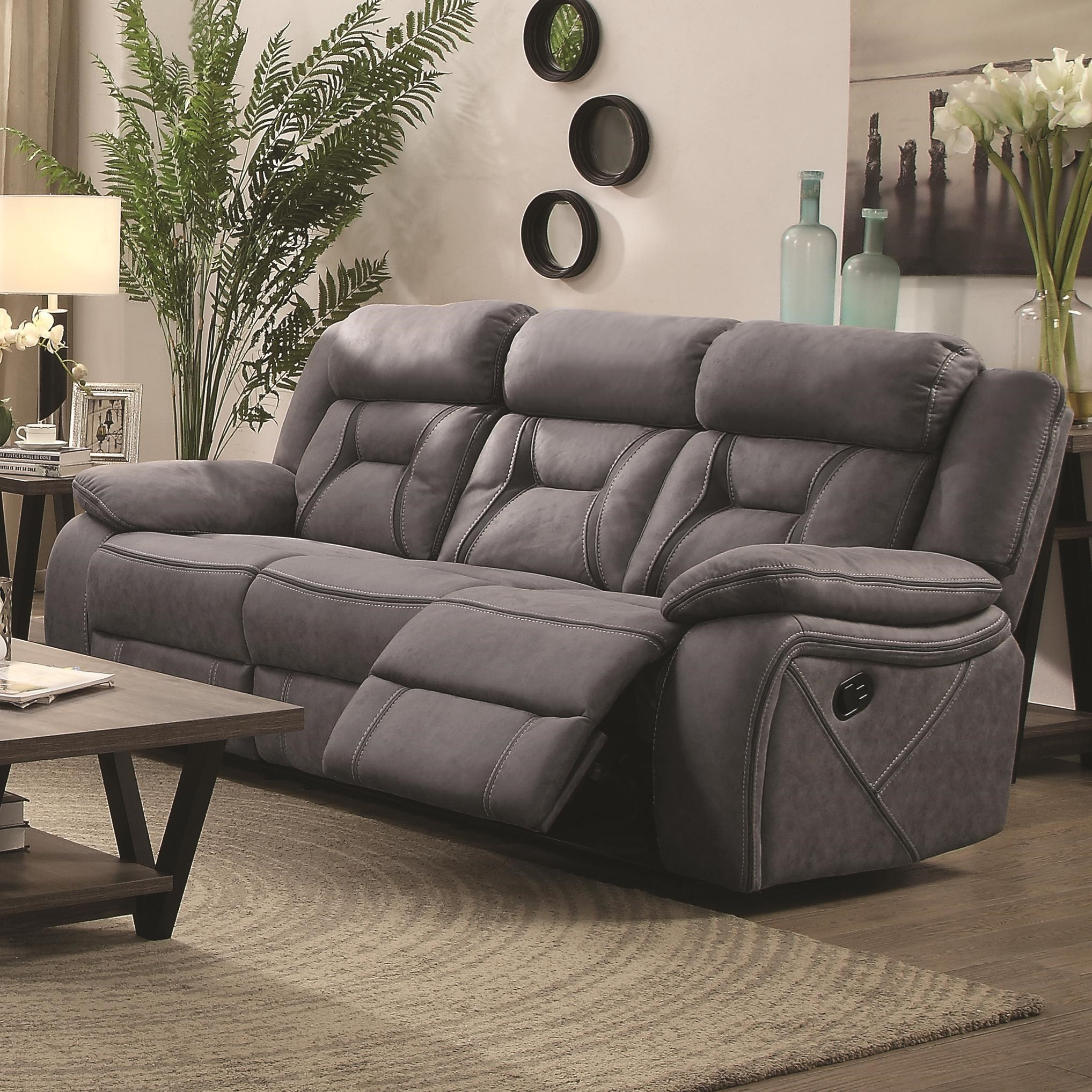 Casual Pillow-Padded Reclining Sofa with Contrast Stitching