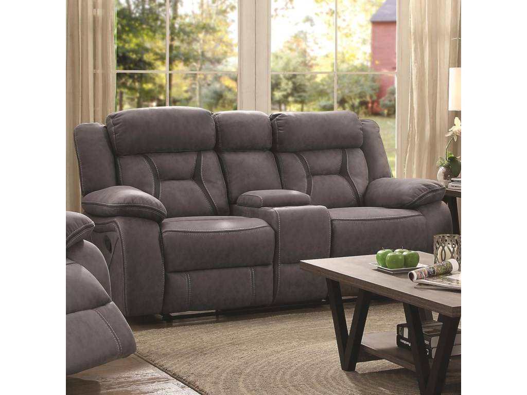 Coaster HoustonMotion Loveseat With Console