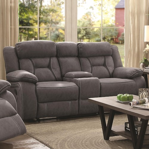 Coaster Houston Casual Pillow-Padded Reclining Loveseat with Cupholder Storage Console