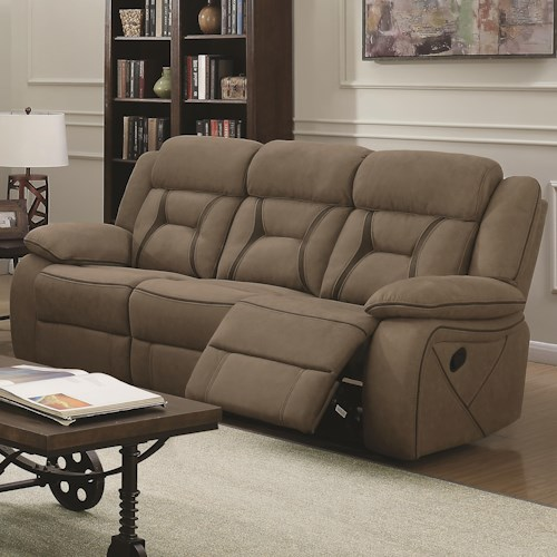 Coaster Houston Casual Pillow Padded Reclining Sofa With Contrast Sching