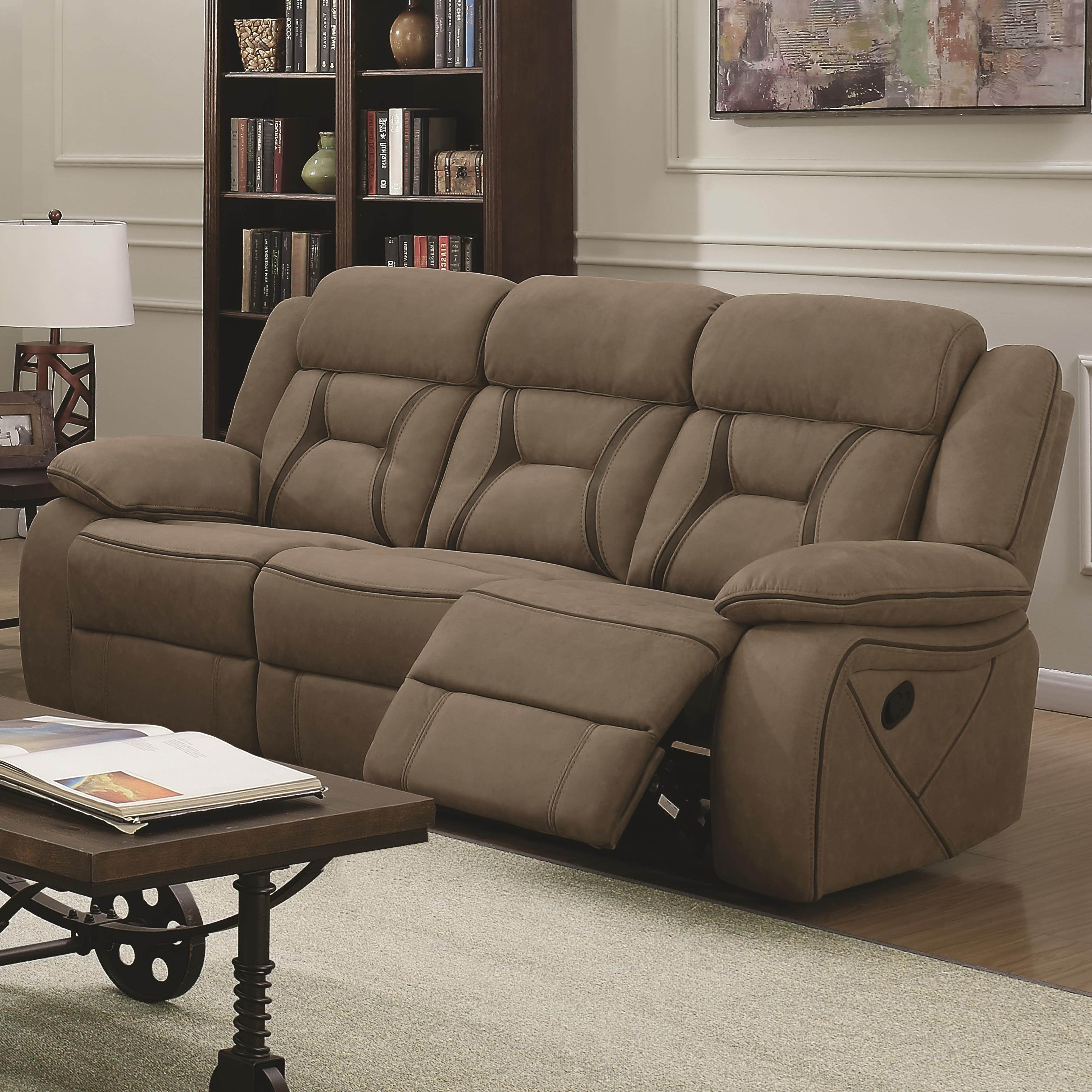 Coaster Houston Casual Pillow Padded Reclining Sofa With Contrast Stitching    Adcock Furniture   Reclining Sofas