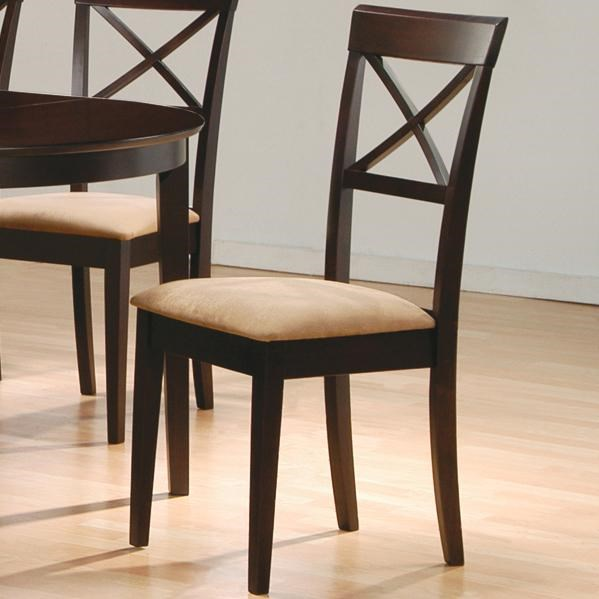 Coaster Mix \u0026 Match 100774 Cross Back Dining Chair with Fabric Seat | Dunk Bright Furniture Side Chairs