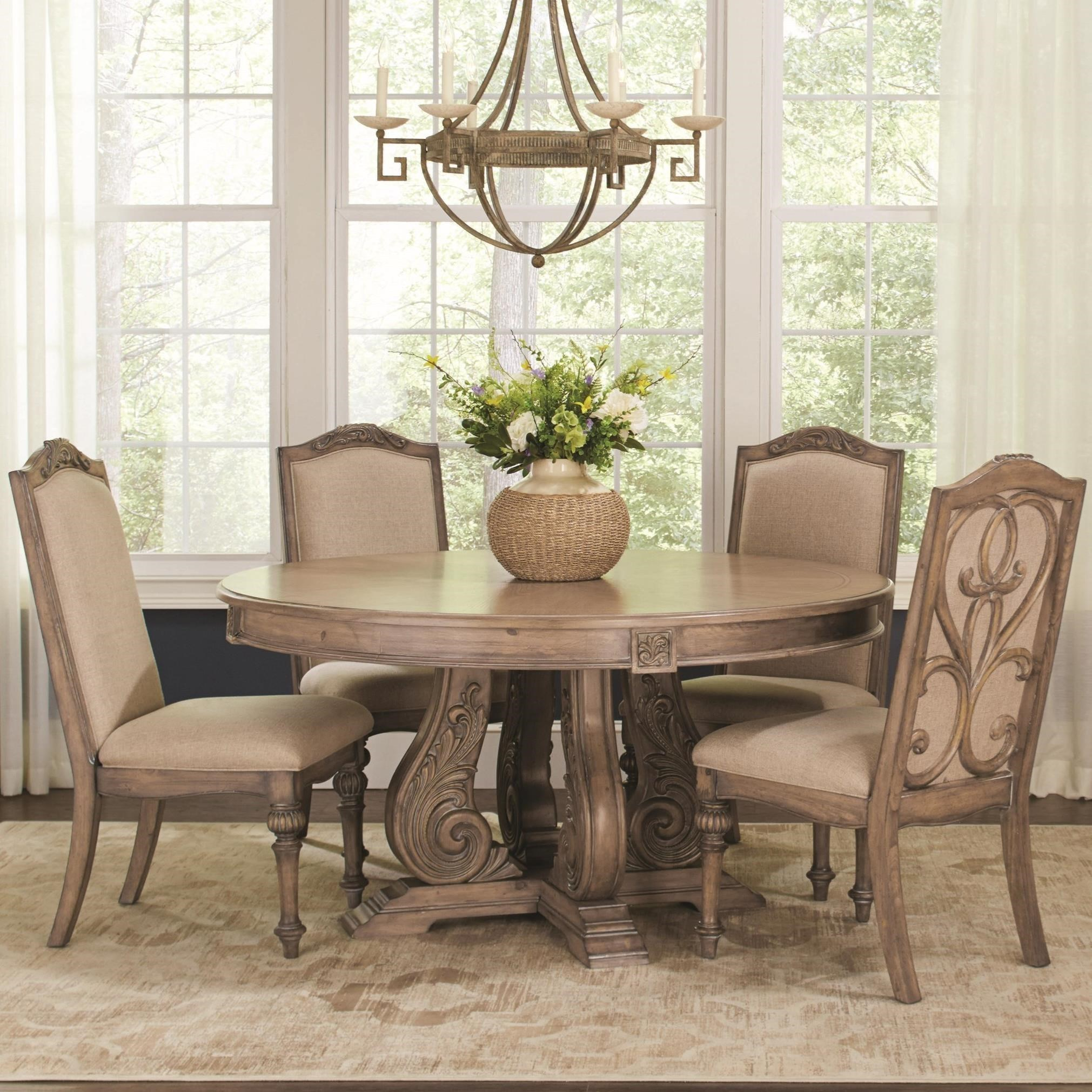 Perfect Coaster Ilana Traditional Round Dining Table With Detailed Pedestal