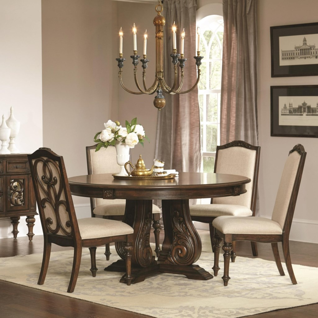 Coaster ilana 122250 traditional round dining table with detailed pedestal dunk bright furniture dining tables