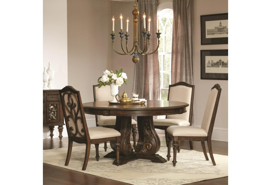 Ilana Traditional Round Dining Table with Detailed Pedestal by Coaster at  Dunk & Bright Furniture