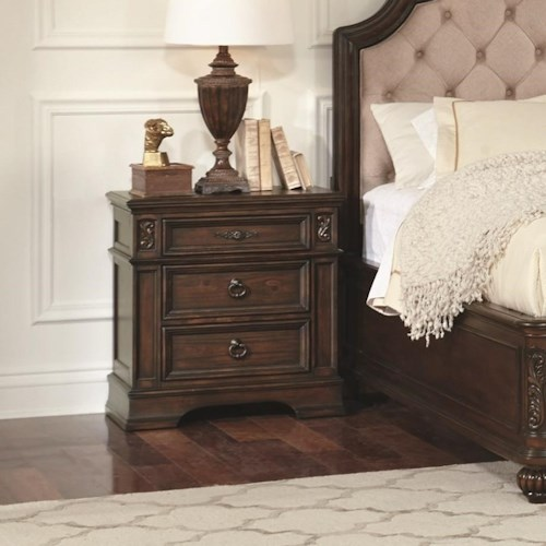 Coaster Ilana  3 Drawer Nightstand with Top Felt-Lined Drawer
