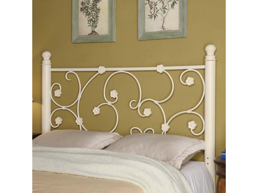 Coaster iron beds and headboards 300185qf full queen white metal headboard with elegant vine pattern dunk bright furniture headboards