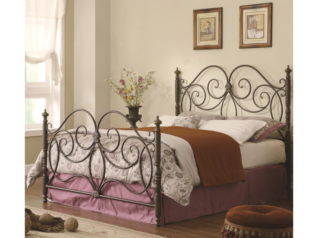 50bed795152c63 Queen Iron Bed with Scroll Details - Iron Beds and Headboards by ...