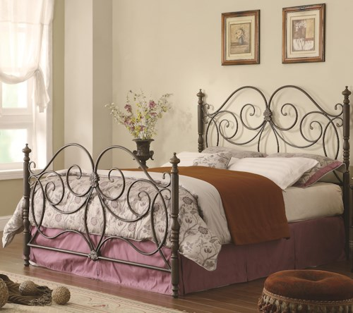 Coaster Iron Beds and Headboards Queen Iron Bed with Scroll Details