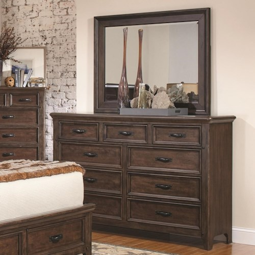Coaster Ives 9 Drawer Dresser and Mirror Combo in Antique Mink Finish