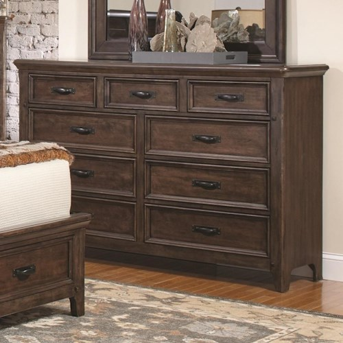 Coaster Ives 9 Drawer Dresser with Felt-Lined Top Drawers