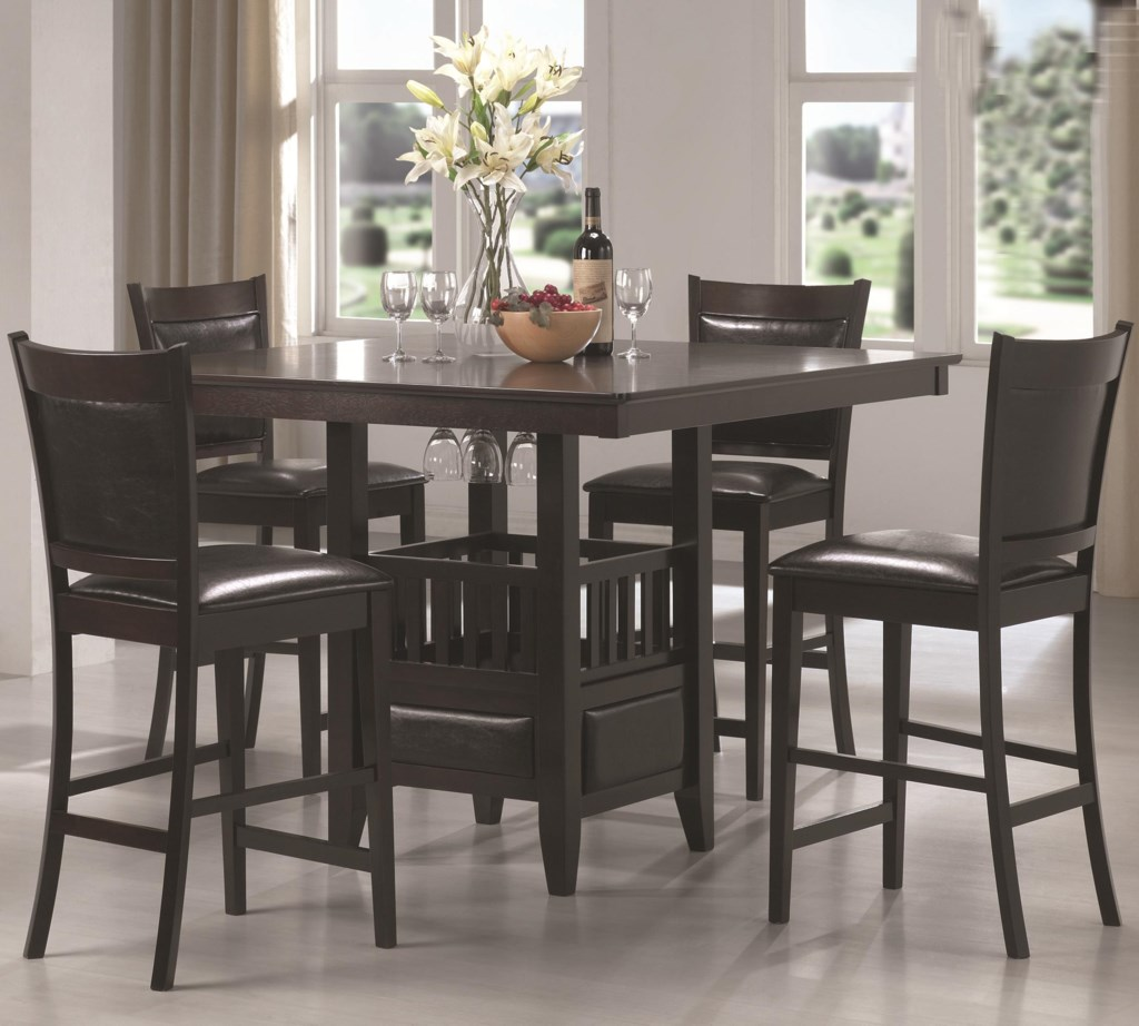 Coaster jaden square counter height table cushioned stool set dunk bright furniture pub table and stool sets