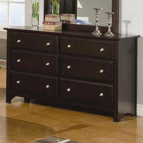 Coaster Jasper 6 Drawer Dresser with Beveled Drawer Fronts