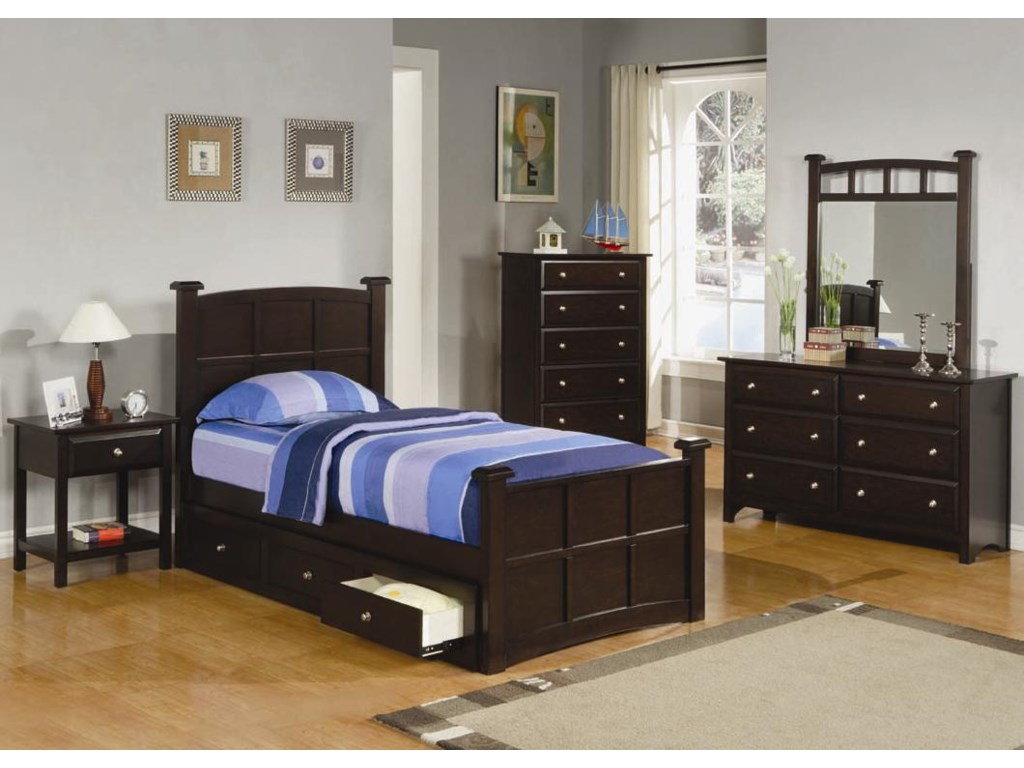 Shown with Night Stand, Twin Storage Bed, Chest and Mirror