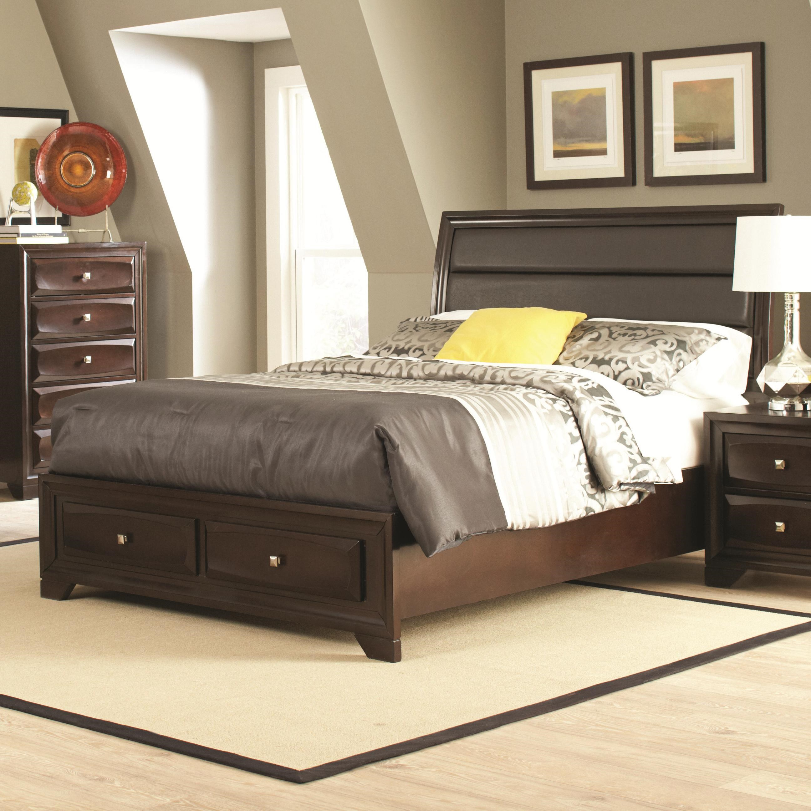 coaster jaxson king bed with upholstered headboard and storage, Headboard designs