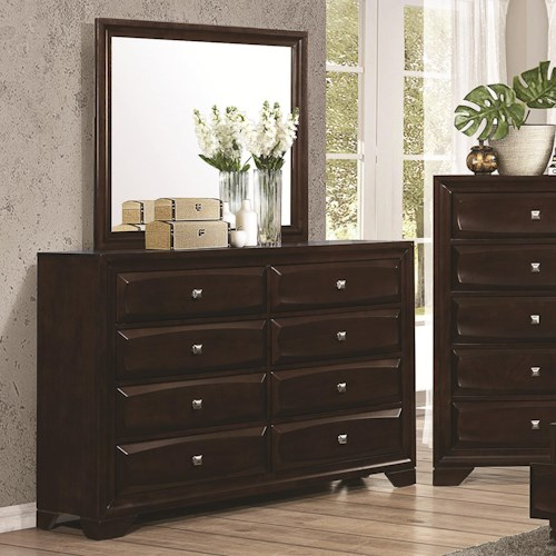 Coaster Jaxson 8-Drawer Dresser and Rectangular Mirror Combination