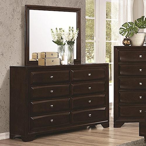 Coaster Jaxson 8-Drawer Dresser and Rectangular Mirror Combination