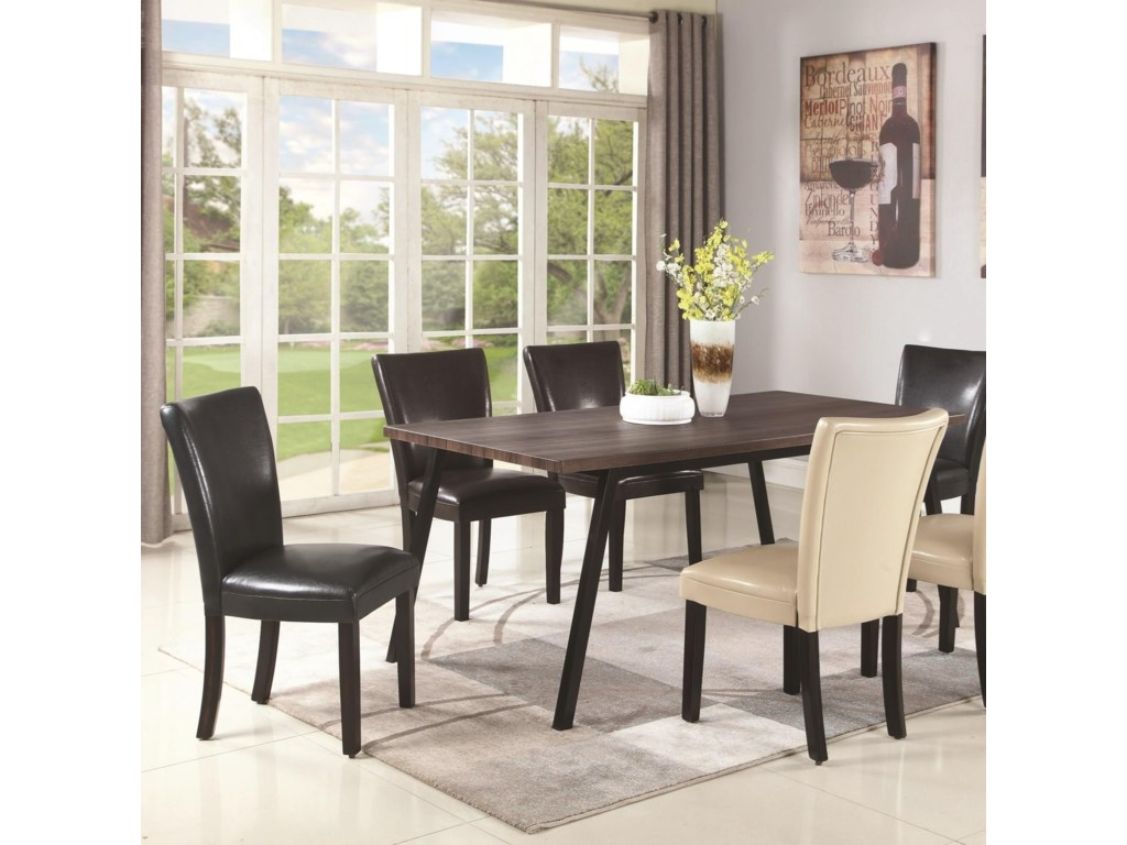 Jefferson Contemporary Dining Table With Metal Legs By Coaster